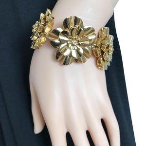 Kate Spade gold flower statement bracelet